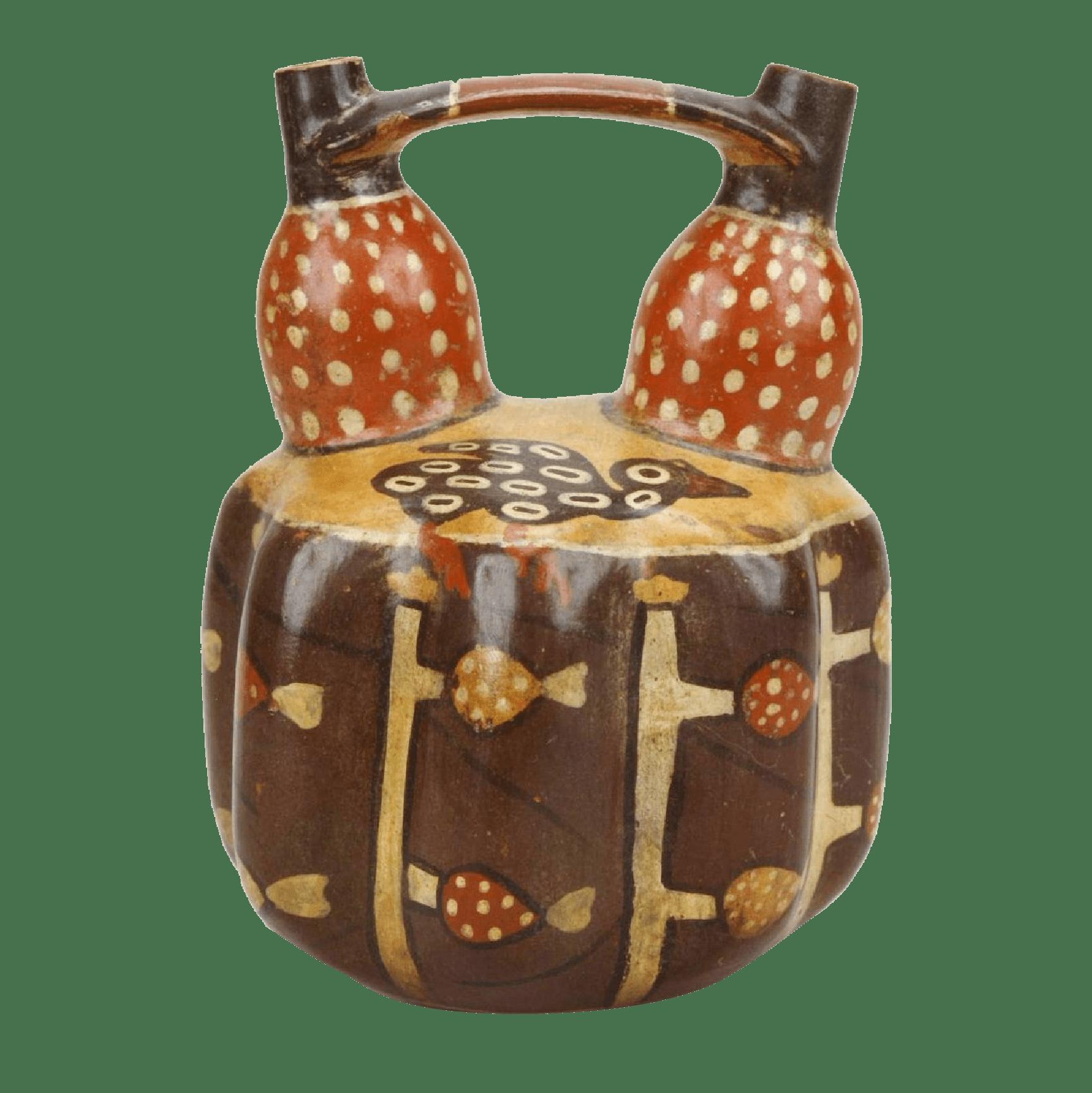 かぼちゃ象形鳥作物彩画橋型壺