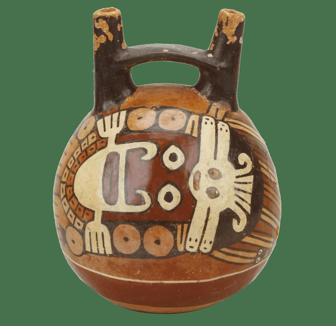 農耕神とヘビ彩画橋型壺
