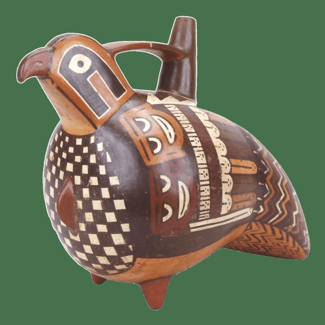 ハヤブサ象形首級彩画杷手付き単注口壺