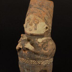 白地黒彩女性象形壺