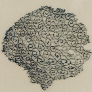 渦巻文刺繍レース裂