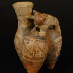 ユカ象形動物飾付三胴鳴笛壺